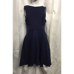 Altar'd State navy Fit n Flare crochet mini dress